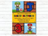 Nintendo Party Invitations Super Mario Bros Invitation Printable Birthday Party