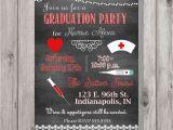 Nurse Graduation Invitations Printable Digital Chalkboard Style Nurse Graduation Party Invitation You