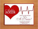 Nursing Graduation Party Invitations Card Ekg Heart Nursing Medical Degree Graduation Party Invitation