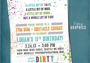 Obstacle Course Birthday Party Invitations Down Dirty Paint Ball Color Run Obstacle Course