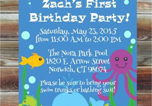 Ocean theme Party Invitations Ocean theme First Birthday Invitation 1st 2nd 3rd Birthday