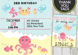 Ocean theme Party Invitations Under the Sea Girl Birthday Invitation Personalized D2
