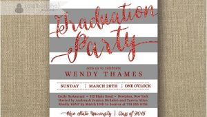 Ohio State Graduation Party Invitations Red Gray Graduation Party Invitation Glitter Stripes