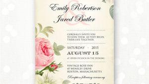 Old Rose Wedding Invitation Template Printable Wedding Invitation Pink Roses Vintage Weddings