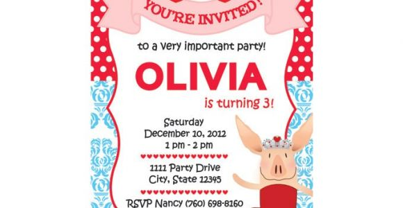 Olivia the Pig Birthday Invitations Olivia Custom Party Invitation Version 2 for Kim You Print
