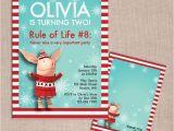 Olivia the Pig Birthday Invitations Olivia the Pig Winter Birthday Invitation and Thank You