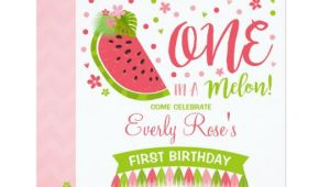 One In A Melon Birthday Invitation Template One In A Melon Birthday Invitation Melon Party Zazzle Com