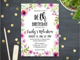 One Page Birthday Invitation Template 16th Surprise Birthday Invitations Printable Sweet Sixteen