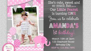 One Page Birthday Invitation Template Elephant Chalkboard Birthday Invitation 1st Birthday
