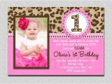 One Page Birthday Invitation Template Leopard Birthday Invitation 1st Birthday Party Invitation