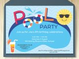 One Page Birthday Invitation Template Pool Party Invitation Card Editable Template Party Printable