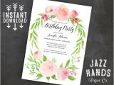 One Page Birthday Invitation Template Printable Birthday Invitation Template Instant Download