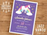 One Page Birthday Invitation Template Unicorn Birthday Invitation Template Diy Printable Unicorn
