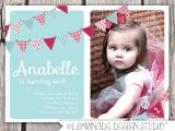One Year Birthday Party Invitations First Birthday Invitation Bunting Flags Banner Photo Printable