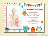 One Year Old Birthday Quotes for Invitations Owl Birthday Boy Invitation First Birthday 1 2 3