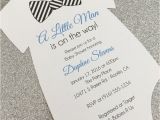 Onesie Baby Shower Invitations for Baby Boy 20 Baby Boy with Striped Bow Tie Esie Baby Shower