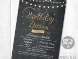 Online Dinner Party Invitations Birthday Dinner Party Invite Instant Download Any Age 30th