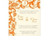 Orange and Gray Wedding Invitations Coral Gray orange Damask Wedding Invitation Zazzle