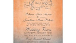 Orange and Grey Wedding Invitations Rustic orange and Grey Bohemian Wedding Invitation