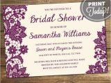 Order Bridal Shower Invitations Wedding Shower Invitation Bridal Shower Lace Purple
