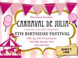 Order Party Invitations Online Carnival Birthday Party Invitation Diy Printable Pink