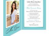Order Quinceanera Invitations Online White Ribbon Turquoise Quinceanera Invitation