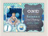 Owl 1st Birthday Party Invitations Boys Blue Owl 1st Birthday Invitation Printable Download