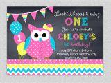 Owl 1st Birthday Party Invitations Owl Birthday Invitation Chevron Owl Birthday Party Invitation