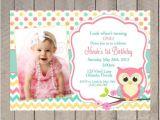 Owl 1st Birthday Party Invitations Owl Birthday Invitation First Birthday Girl Teal Pink