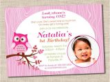 Owl 1st Birthday Party Invitations Pink Owl Birthday Party Invitations Printable Owl Party