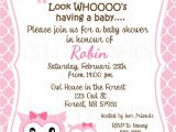 Owl Baby Shower Invitations Etsy Pink Owl Baby Shower Invitation Card Customize
