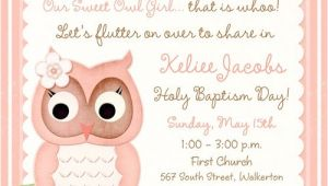 Owl Baptism Invitations Baby Owl Baptism Invitation Religious Cute Hoot Style