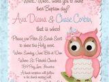 Owl Baptism Invitations butterfly Owl Christening Invitation Baby Girl Bir