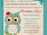 Owl Baptism Invitations Valentine Owl Christening Invitation Teal Fun Red Heart
