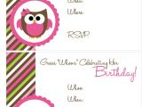 Owl Birthday Invitation Template 41 Printable Birthday Party Cards Invitations for Kids
