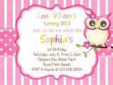 Owl Birthday Party Invites Little Owl Birthday Invitation Pink Girl Owl theme by