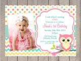 Owl First Birthday Invitations Owl Birthday Invitation First Birthday Girl Teal Pink