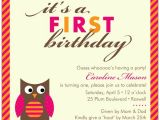 Owl First Birthday Photo Invitations Baby Owl Pink First Birthday Invitations