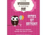 Owl First Birthday Photo Invitations Cheerful Owl Girl 1st Birthday Invitations