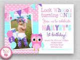 Owl First Birthday Photo Invitations Girls Birthday Invitation Girls 1st Birthday Invitation