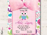 Owl First Birthday Photo Invitations Owl Birthday Invitation Girl First Birthday by