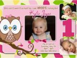 Owl First Birthday Photo Invitations Pink Owl 1st Birthday Invitation with Photos