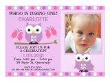 Owl First Birthday Photo Invitations Purple Owls butterflies 1st Birthday Invitation