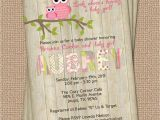 Owl Invitations for Baby Shower Owl Baby Shower Invitation with Wood Background Digital