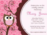 Owl Invites for Baby Shower Baby Shower Owl Invitations Printable Pink Owl Custom order