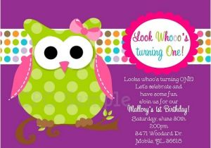 Owl themed 1st Birthday Invitations Owl 1st Birthday Invitation In Pink Green and Purple