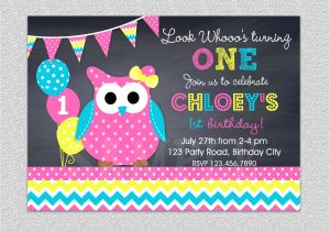 Owl themed 1st Birthday Invitations Owl Birthday Invitation Chevron Owl Birthday Party Invitation
