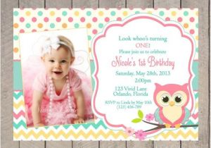 Owl themed 1st Birthday Invitations Owl Birthday Invitation First Birthday Girl Teal Pink