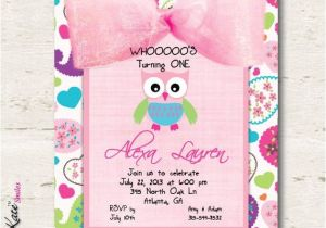 Owl themed 1st Birthday Invitations Owl Birthday Invitation Girl First Birthday by