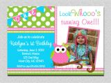 Owl themed 1st Birthday Invitations Owl Birthday Invitation Pink and Green Owl Birthday Party